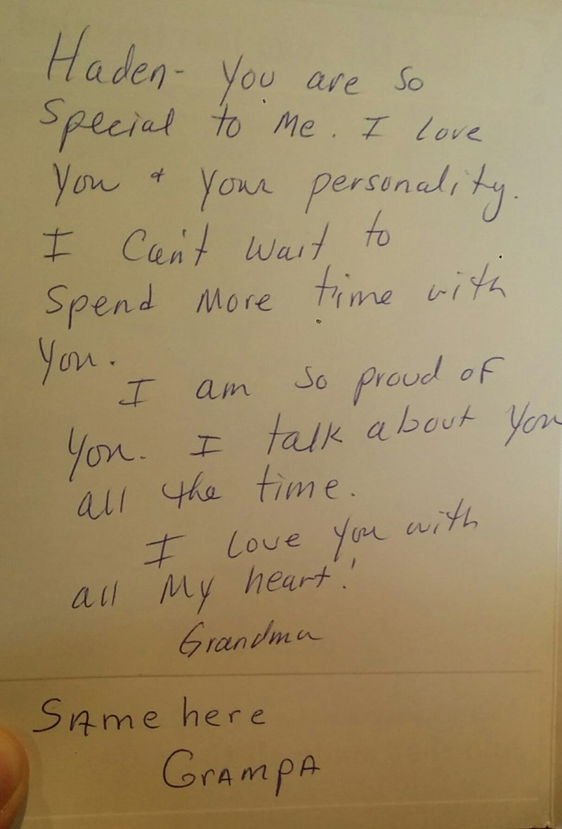 funny parenting image grandma writes genuine card grandpa signs same here
