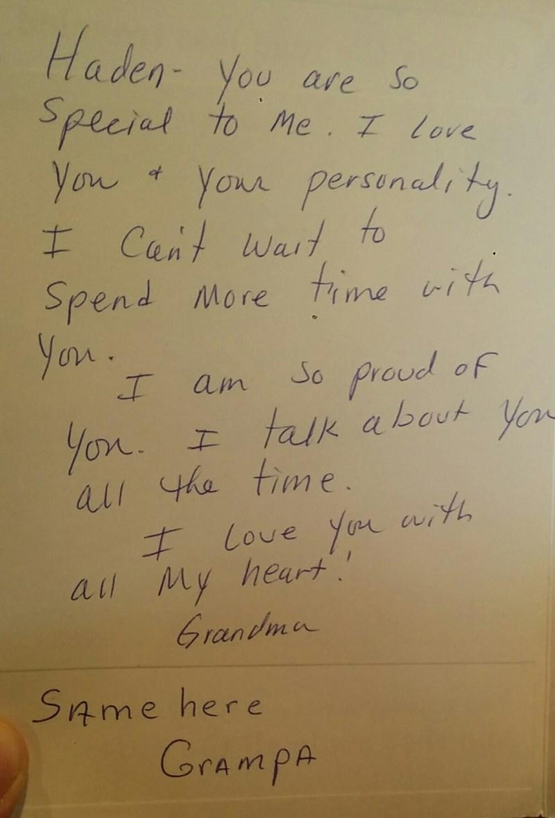 funny parenting image grandma writes genuine card grandpa signs same here