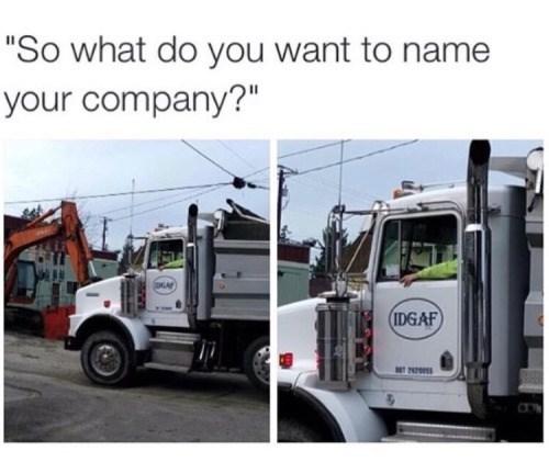 funny memes idgaf truck logo