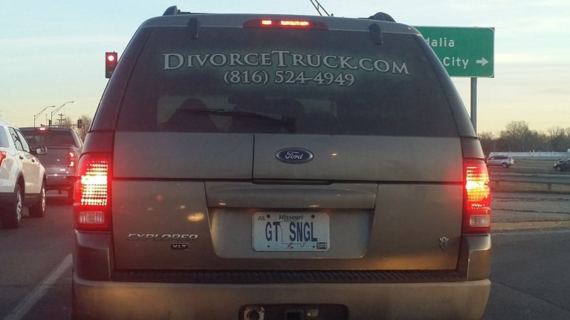 funny memes divorce truck get single license plate