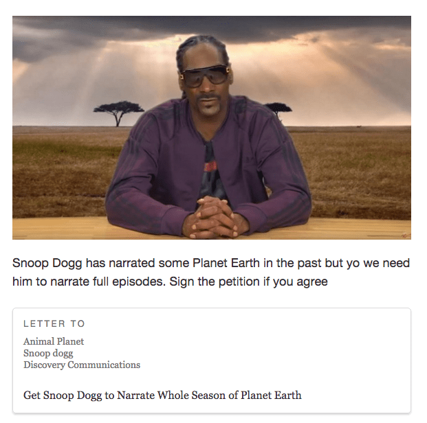 planet earth,animal planet,petition,snoop dogg