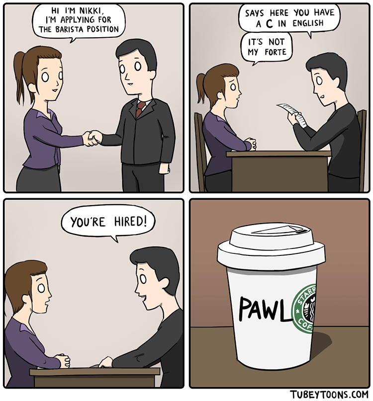 web comics starbucks spelling Too Legible, Sorry but You're On Probation