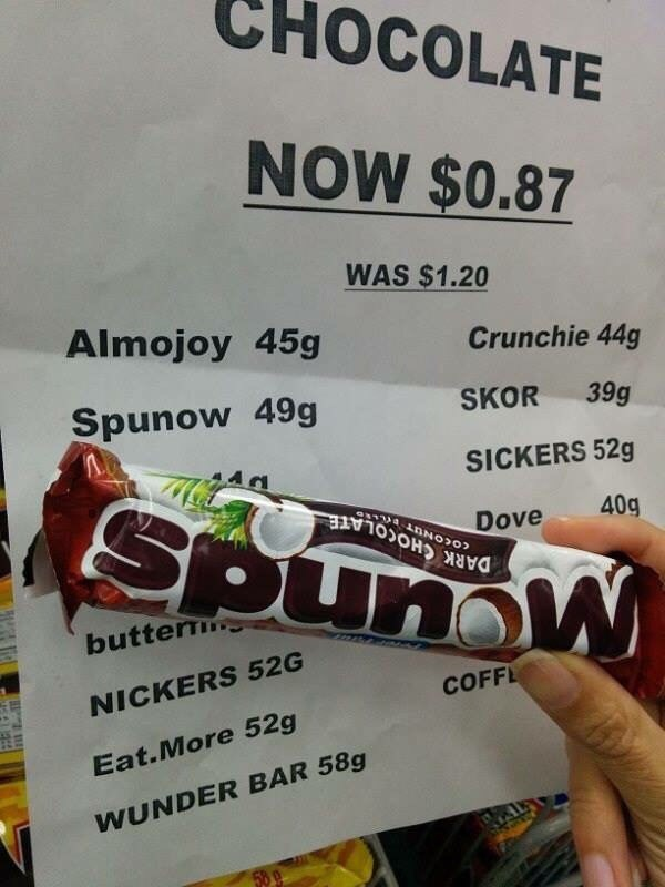 funny fail image candy priced upside down