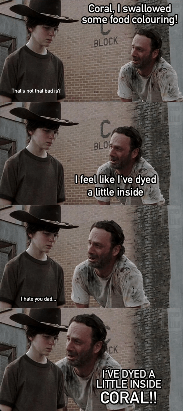 funny memes dyed a little inside coral
