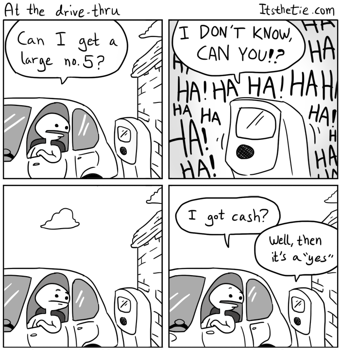 web comics dad jokes drive thru Please Pull Up to the First Window