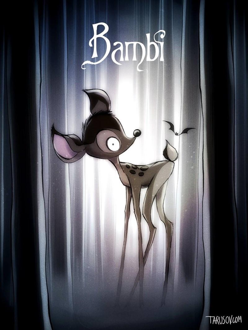 bambi tim burton style