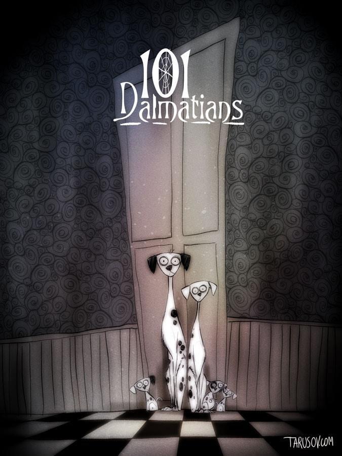 101 dalmatians tim burton style