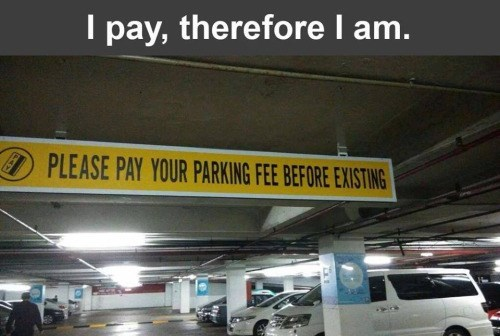 please pay parking before existing sign