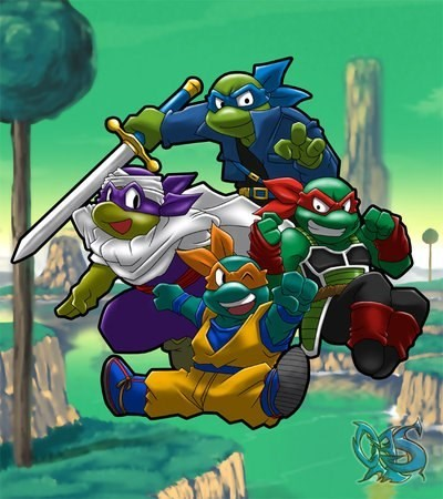 crossover,TMNT,anime,Fan Art,Dragon Ball Z