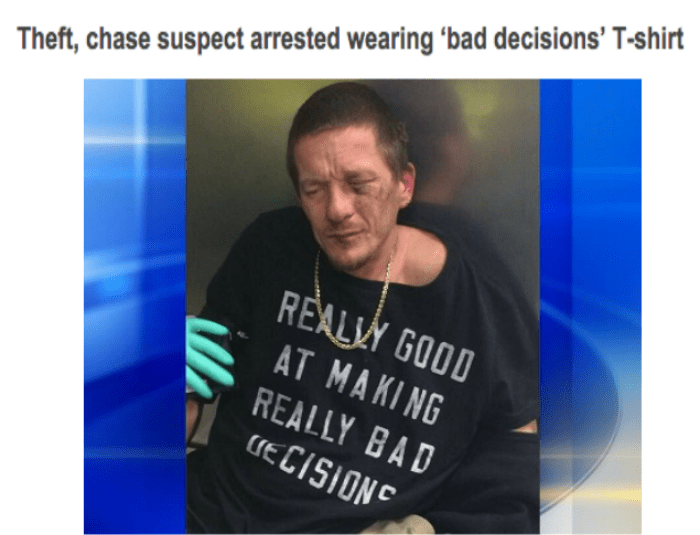 funny fail image thief caught wearing ironic shirt