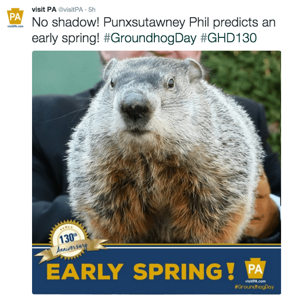 groundhog day image The Groundhog Has Spoken, Apparently We're in for an Early Spring