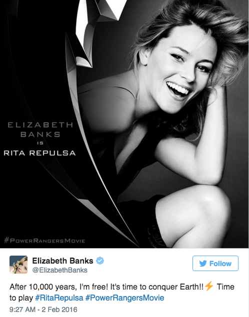 power rangers reboot Elizabeth Banks Will Be Rita Repulsa in the New 'Power Rangers' Movie