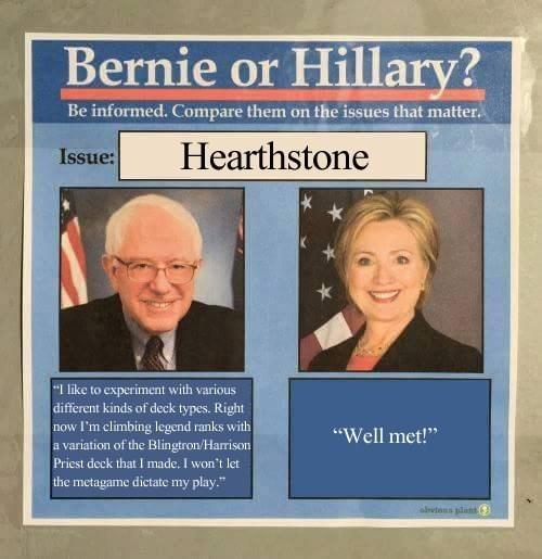 bernie vs hillary hearthstone
