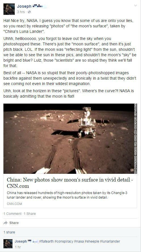 nasa flat earth FAIL moon facepalm facebook science space - 8747600896