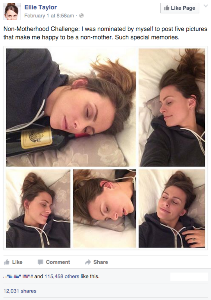funny facebook image woman changes motherhood challenge to something more relaxing