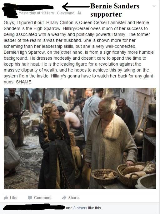 FAIL Game of Thrones bernie sanders facepalm Hillary Clinton politics - 8747769856
