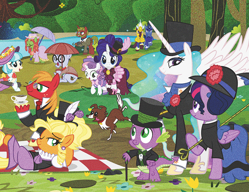some other ponies i guess,spike,tree hugger,applejack,ponified,winona,Sweetie Belle,twilight sparkle,a sunday afternoon on the island of la grande jatte,Big Macintosh,rarity,coco pommel,princess celestia