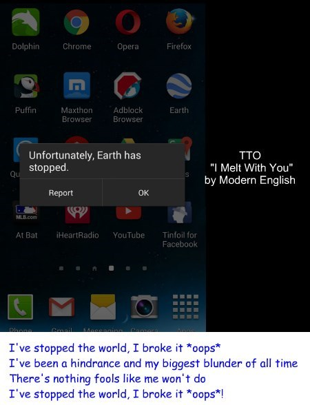 """I Broke It - Oops"" (TTO ""I Melt With You"" by Modern English)"
