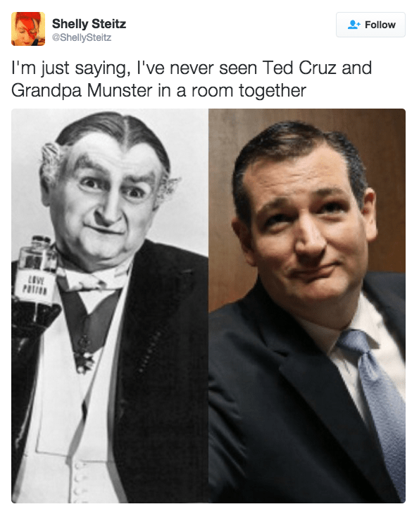 Facial expression - Follow Shelly Steitz @ShellySteitz I'm just saying, I've never seen Ted Cruz and Grandpa Munster in a room together POTON