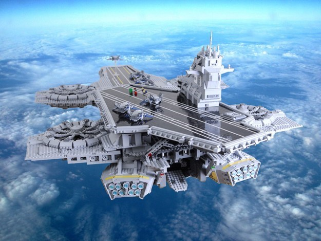 lego A LEGO Fan Built a 4½ Foot Long SHIELD Helicarrier Using Only Images From the Avengers Movie for Reference