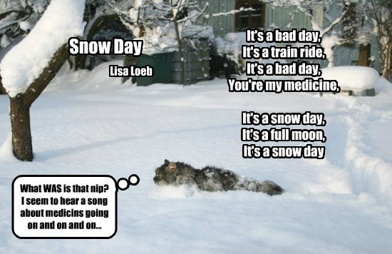 It's a bad day,  It's a train ride,  It's a bad day,  You're my medicine,   It's a snow day,  It's a full moon,  It's a snow day