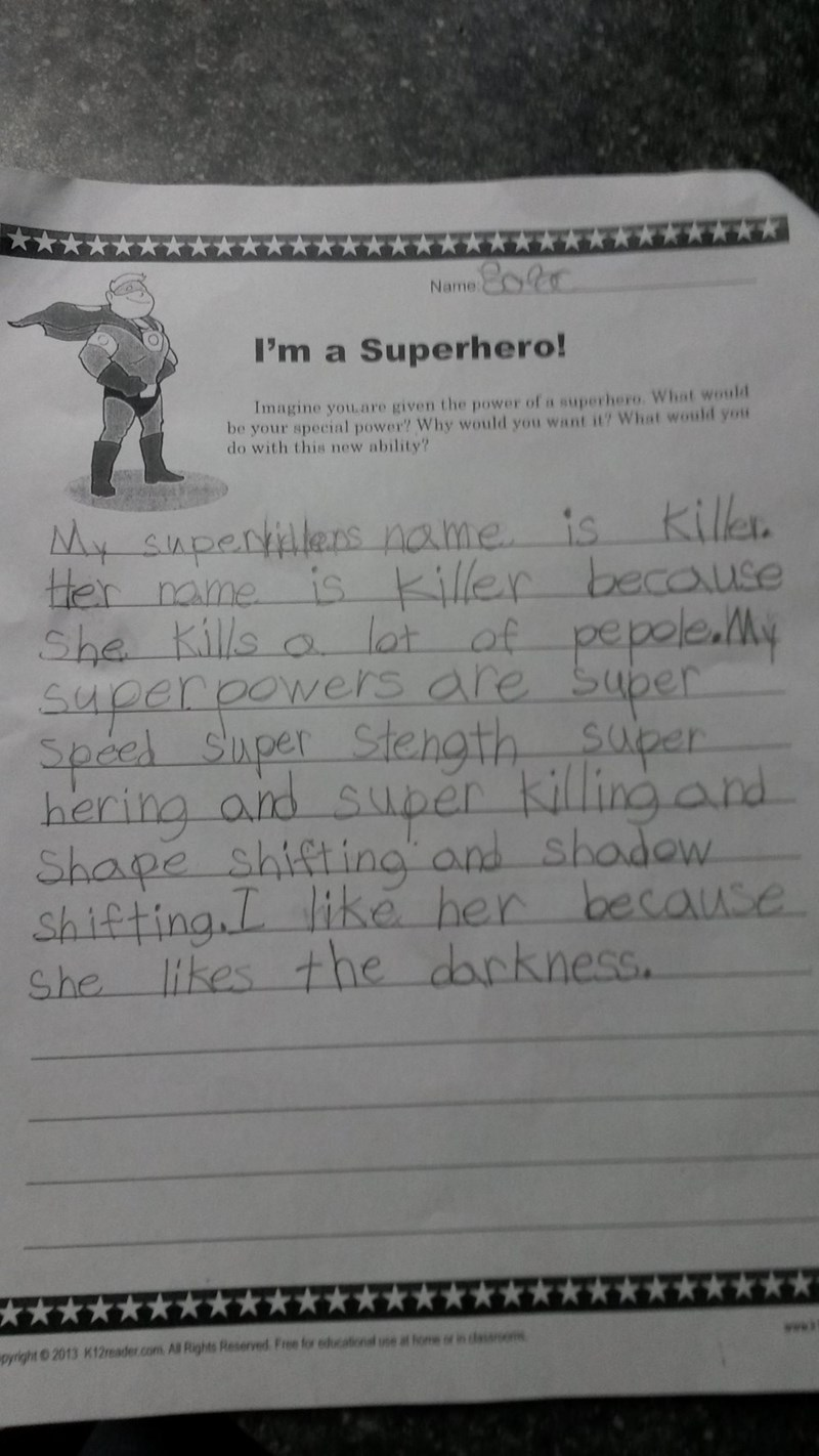 funny school image little girl describes her super powers and everyone should be concerned