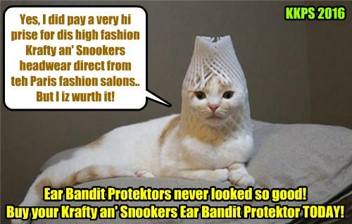 Foofany models super high fashion headwear that she purchased from the enormously popular line of Krafty an' Snooker's Ear Bandit Protektors..
