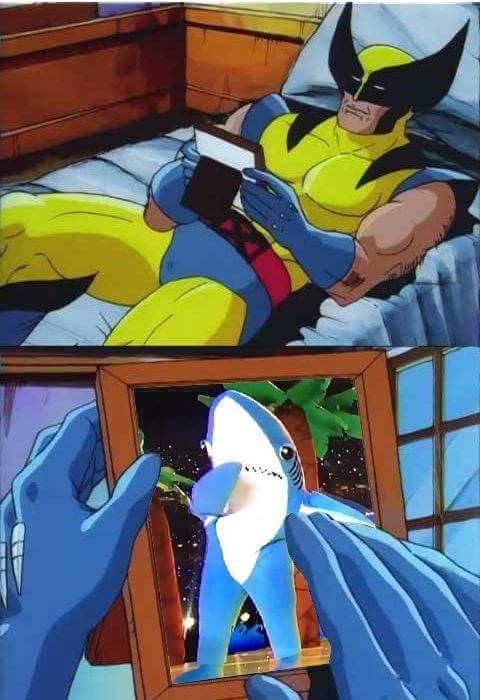 funny memes wolverine left shark
