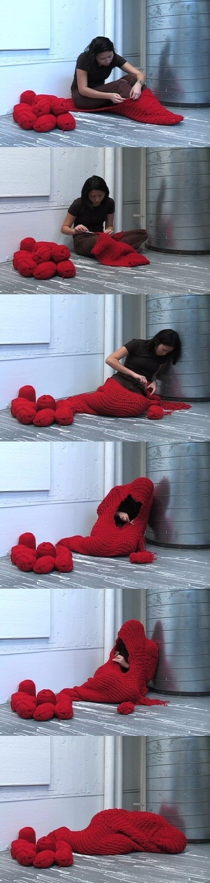 girl knits herself into red lump