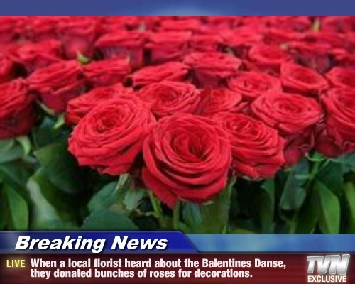 Breaking News - When a local florist heard about the Balentines Danse, they donated bunches of roses for decorations.