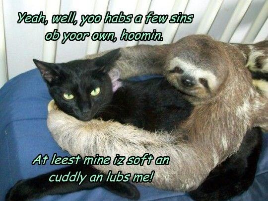Yeah, well, yoo habs a few sins  ob yoor own, hoomin.