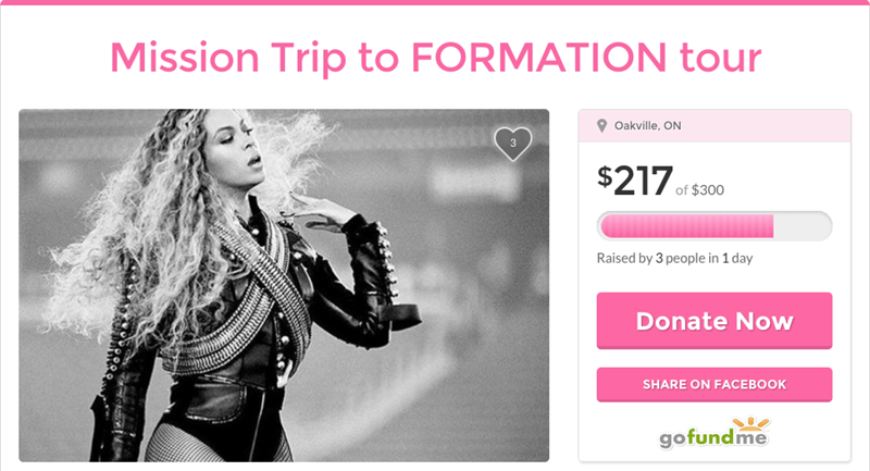 gofundme beyonce tour Multiple People Have Started GoFundMe Campaigns to Buy Tickets for Beyonce's Tour