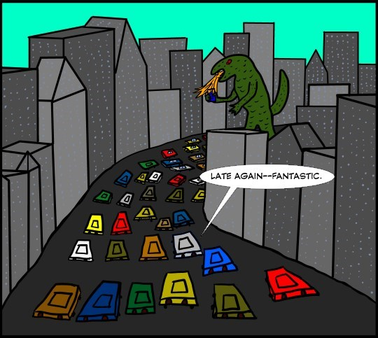 web comics kaiju traffic They'll Never Believe This at Work