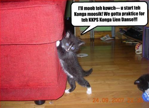 I'll moob teh kowch--- u start teh Konga moosik! We gotta praktice for teh KKPS Konga Lien Danse!!!