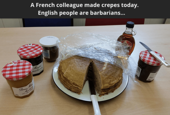 funny fail image Coworkers destroy French food