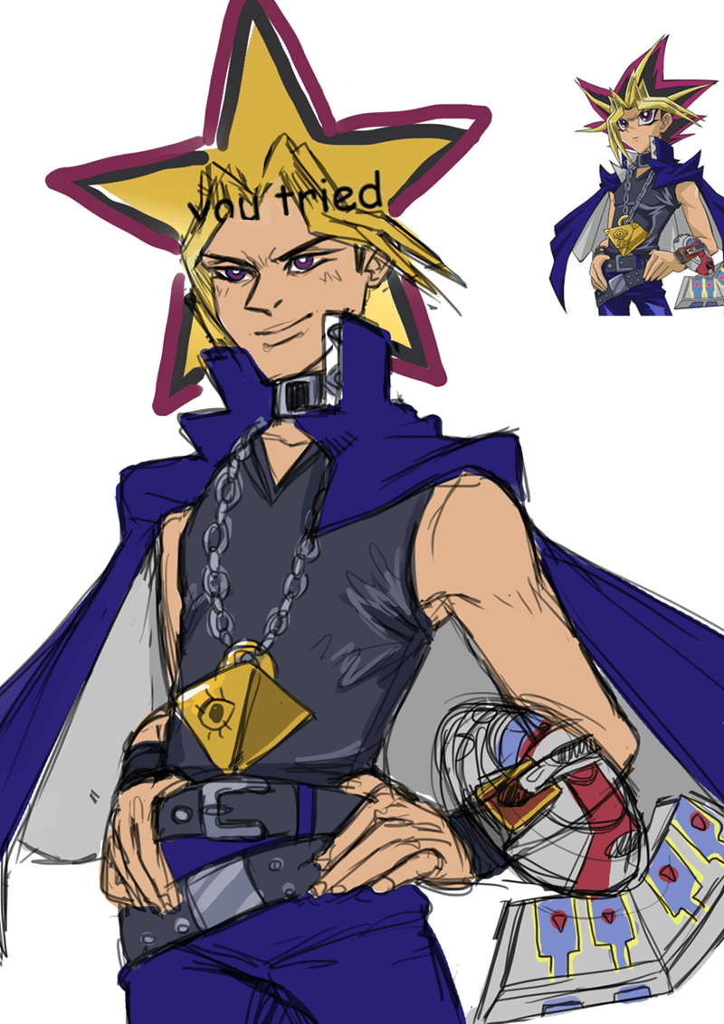 anime memes yu gi oh you tried star hair