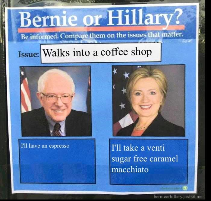 coffee politics bernie vs hillary - 8751254016