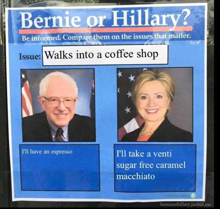 coffee politics bernie vs hillary - 8751254016