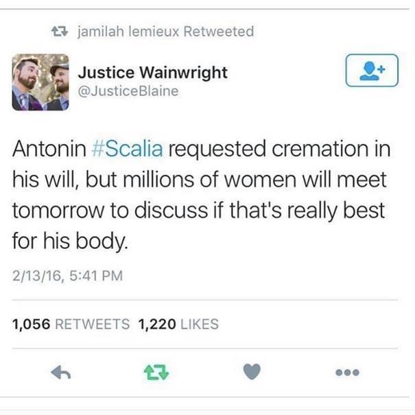 funny twitter image Justice Scalia irony