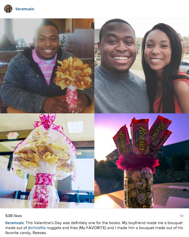 funny dating image boyfriend gives girlfriend bouquet of chick-fil-a nuggets and fries