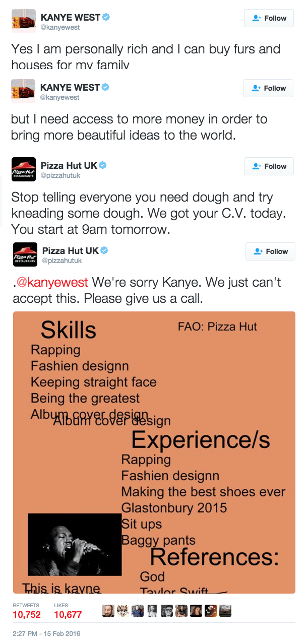 Pizza Hut is Trying to Troll Kanye by Suggesting He Work for Them to Address His Debt Issues
