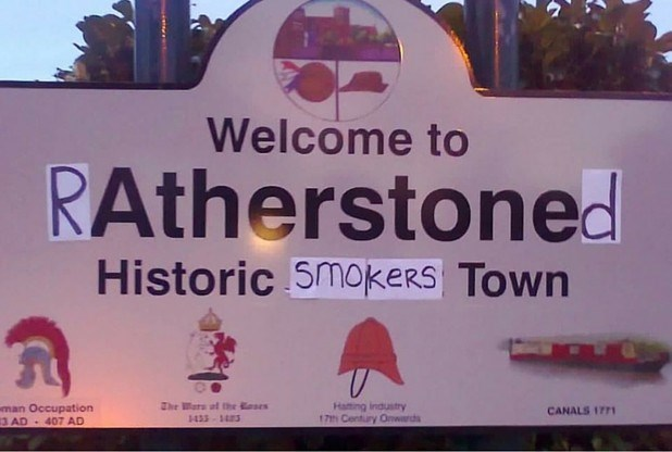 funny sign ratherstoned historic smokers town