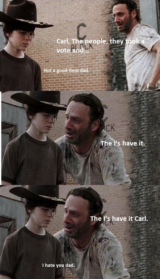 Is That A Nay Carl The Walking Dead The Walking Dead Meme