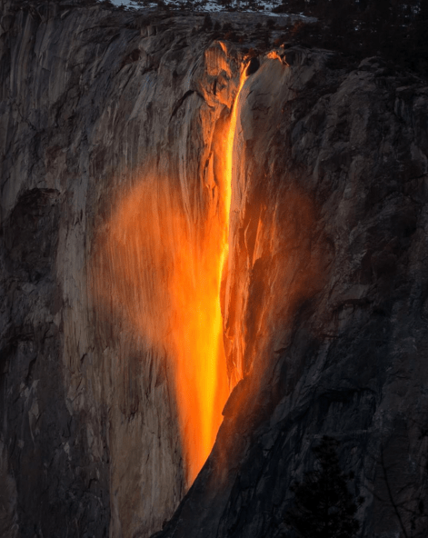 "nature image Sunset Causes a Stunning ""Firefall"" in Yosemite National Park"