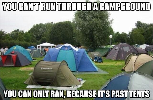 funny puns running past tents