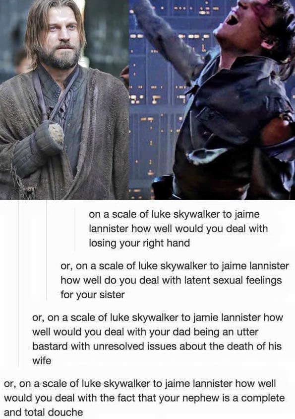 jaime lannister,Game of Thrones,star wars,luke skywalker