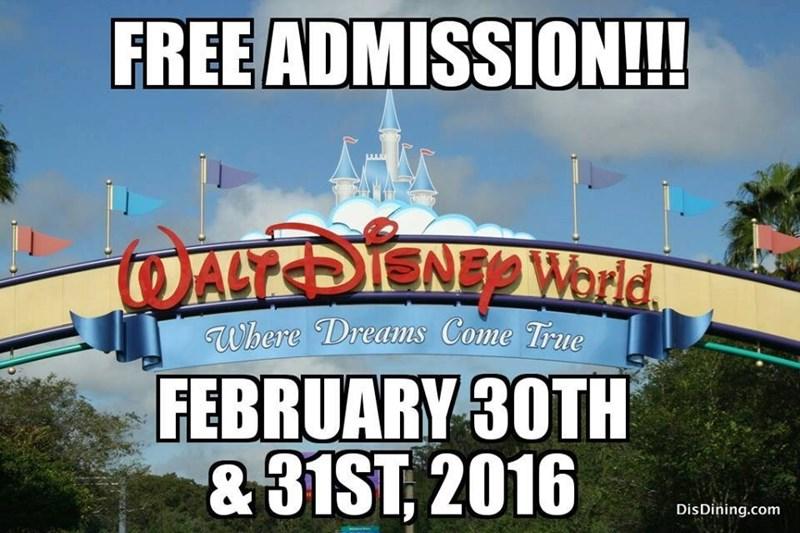 free disney world admission feb 30 31