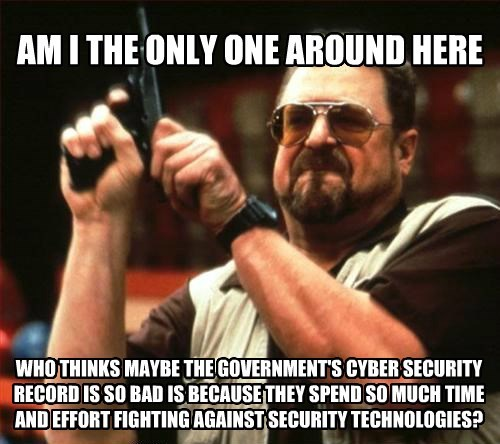 AM I THE ONLY ONE AROUND HERE WHO THINKS MAYBE THE GOVERNMENT'S CYBER SECURITY RECORD IS SO BAD IS BECAUSE THEY SPEND SO MUCH TIME AND EFFORT FIGHTING AGAINST SECURITY TECHNOLOGIES?