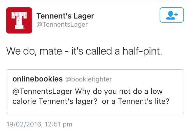 funny social media image Tennents Lager gives amazing response to tweet
