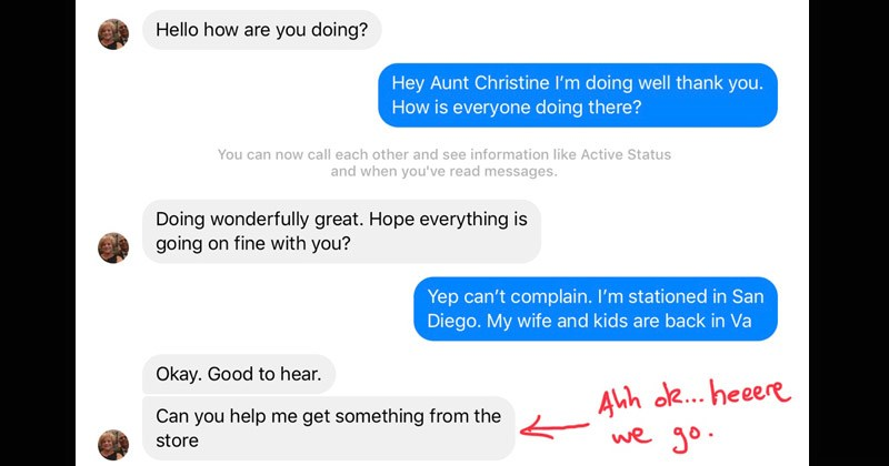 Guy's 'Aunt' Tries To Scam Him Over Facebook So He Whips Out Some Grade-A Trolling
